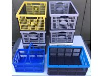 8x folding collapsible plastic storage crates