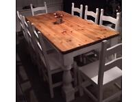 Stunning shabby chic dining table and 8 chairs