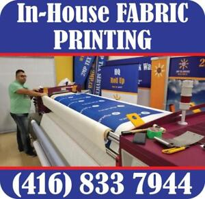 FAST Dye Sublimation Fabric Printing ANY Trade Show Displays, Pop Up Backdrops, Custom Printed Tents Advertising Flags