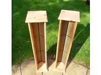 CD WOODEN STORAGE TOWERS x 2