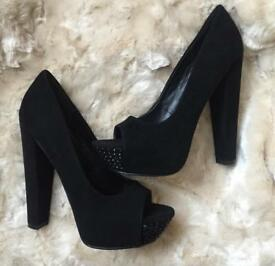 CARVELA Ladies Black Studded Front Stiletto Heels Size 5