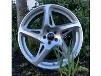 """18"""" River R4 (Silver) alloy Wheels and Tyres. Suit MK4 VW Golf, Seat Ibiza, Audi A1 ETC (5X100)"""