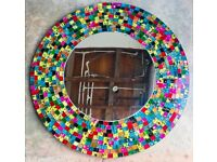 LARGE LUSH BESPOKE ONE OFF ROUND MOSAIC MIRROR FOR SALE