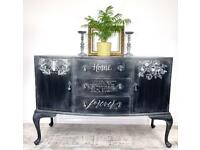 Beautiful rustic hand painted black and white vintage sideboard