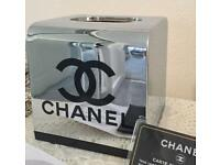 Chanel Inspired Chrome Cube Tissue Box - new