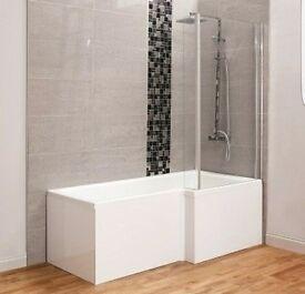L Shape Bath with Side Panel & Shower Screen