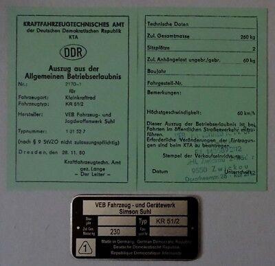 1 ABE Kr 51/2  Schwalbe Betriebserlaubnis SIMSON  & KEIN Typenschild =  DDr Stil