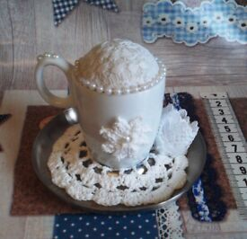 Handmade Shabby Chic Cup and Saucer Pin Cushion
