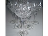 6 Beautiful Stuart Crystal Hock Wine Glasses in immaculate condition