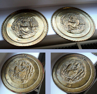 PAIR BRASS JENNY JONES PLAQUES - WELSH SPINNING SCENE - EARLY 1900s