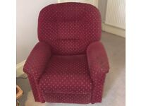 FREE - COMFY RED ARMCHAIR (electric recliner function no longer working)