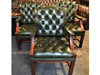 Green leather Chesterfield office chairs...