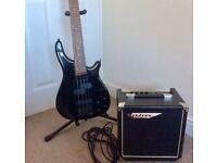 Bass guitar by Vintage, active electronics plus Ashdown 15w practice amp & cable