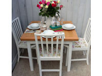 Pretty Shabby Chic/Vintage Oak Dining Table and Chairs in Clarke & Clarke Designer Floral Printc
