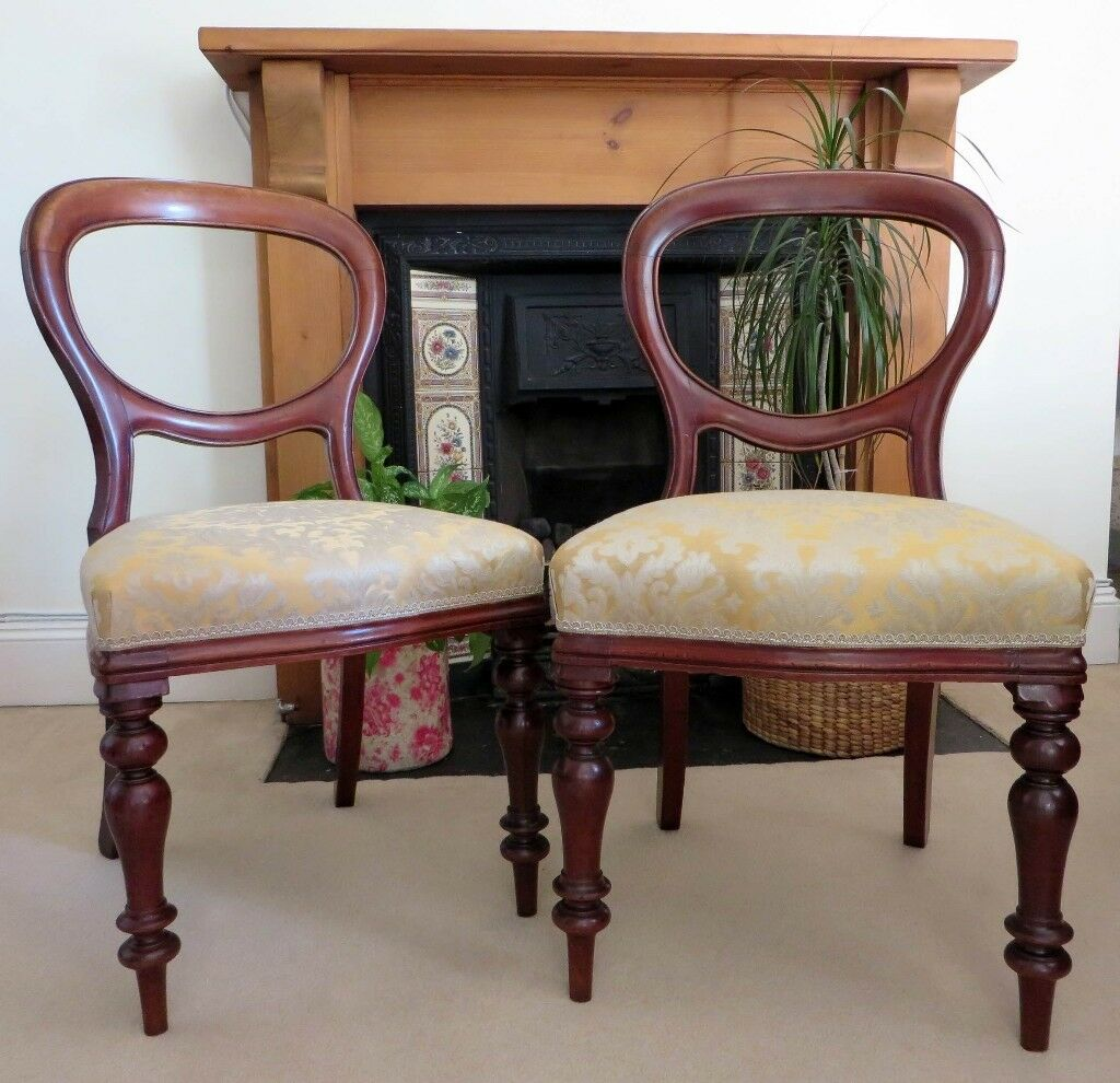 Victorian Balloon Back Dining Chairs PAIR
