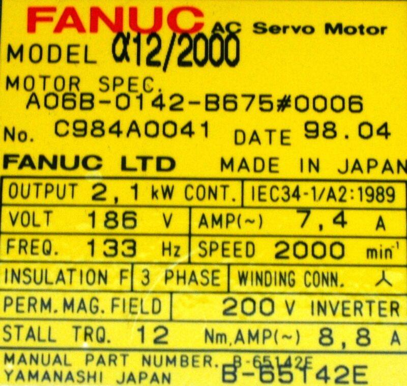 Fanuc Motors-ac Servo A06b-0142-b675-0006 [pz4]