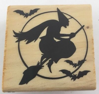 Craft Smart Witch Broomstick Silhouette Bats Moon Halloween Wood Rubber Stamp (Halloween Silhouette Craft)