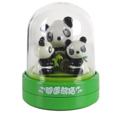 "3 Pandas Family Heads Bob & Shake Solar Power Figurine 4""H New"