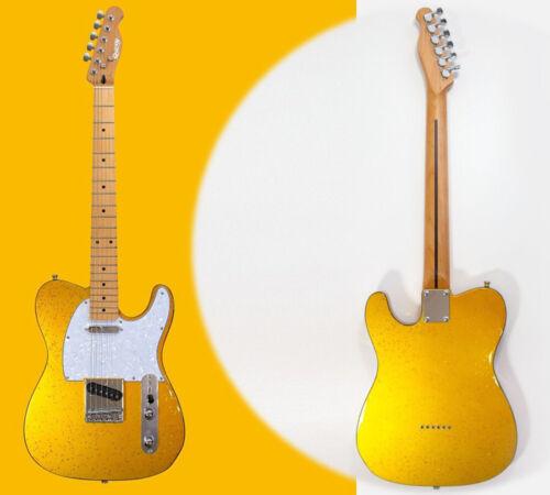 Vegas by Quincy Tele Style Electric Guitar Metallic Gold star terrazzo glitter