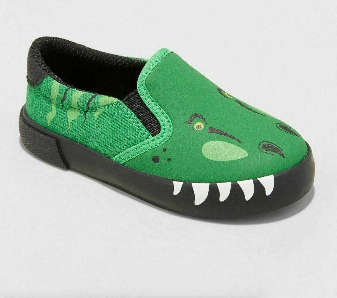 NEW Cat & Jack Toddler Boys Dinosaur Bo Canvas Sneakers-Gree