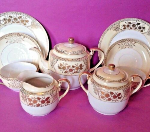 Noritake Tea Set - Teapot Sugar Creamer - 4 Cups Saucers & Dessert Plates Japan