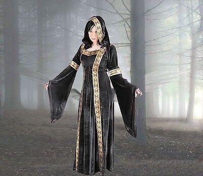 Mittelalter Kleid Grün (Mittelalter Gothic LARP Gewand Kleid m. Kapuze grün blau schwarz rot 36 38 40 42)