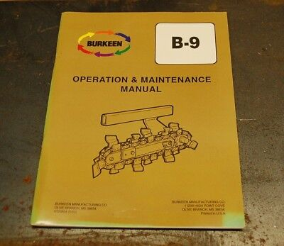Burkeen B9 Walk Behind Trencher Operator Maintenance Owner Manual Operation Book