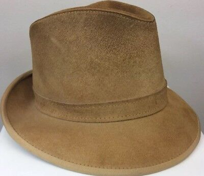 Men's Skully's By Henschel St. Louis Tan Suede Hat Size Medium USA Made