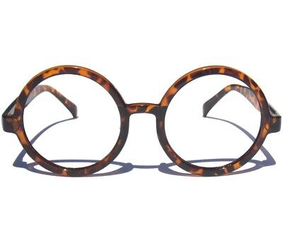 ROUND CLEAR LENS GLASSES Hipster Tortoise Shell Retro Oversize Circle (Circle Tortoise Shell Glasses)