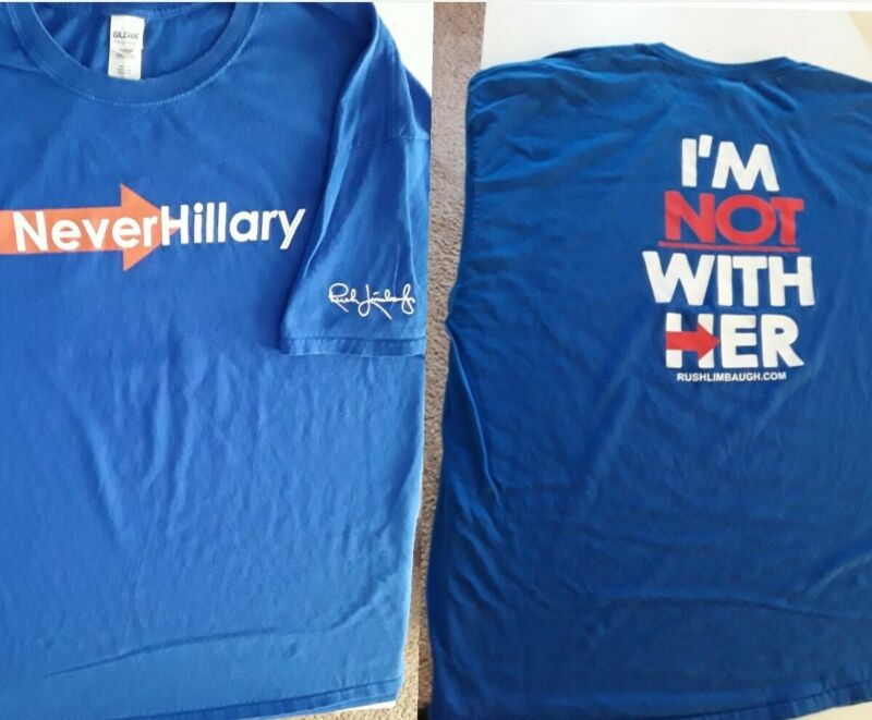 The Rush Limbaugh Show 3XL Shirt - Never Hillary Clinton - Radio Tee