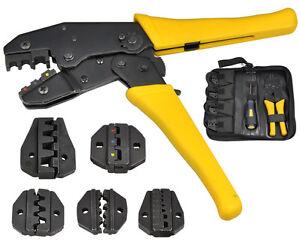 Crimper Crimp Pliers Set 0.5-35 mm² Crimping Tool Kit Cable Ratchet 4 Spare Dies