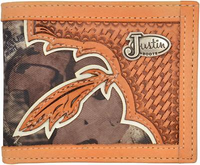 Justin Brown Wallet (Justin Western Mens Wallet Bifold Tooled Weave Concho Camo Brown WJB127)