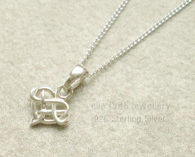 925 sterling silver small celtic knot pendant with necklace chain ebay 925 solid sterling silver celtic knot small heart pendant necklace with chain aloadofball Images