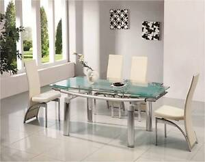 DONATO EXTENDING GLASS CHROME DINING ROOM TABLE & 6 CHAIRS SET ...