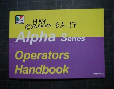 Lister Petter Alpha Marine Engine Operation Owner Manual Book Operator Guide Oem