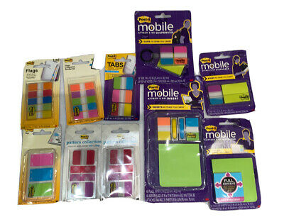 Lot Of New Post It Clip Arrow Flags Tabs Note Pads Mobile Dispenser Attach Go