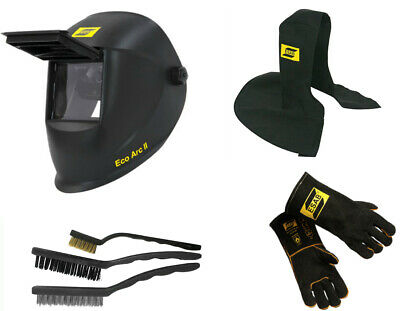 Esab Welding Helmet Gloves Proban Hood 3 X Wire Brush Set Welder Starter Kit