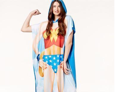 Dc Comics Original Wonder Woman Super Hero Kapuzenponcho Kostüm Nwt Neu