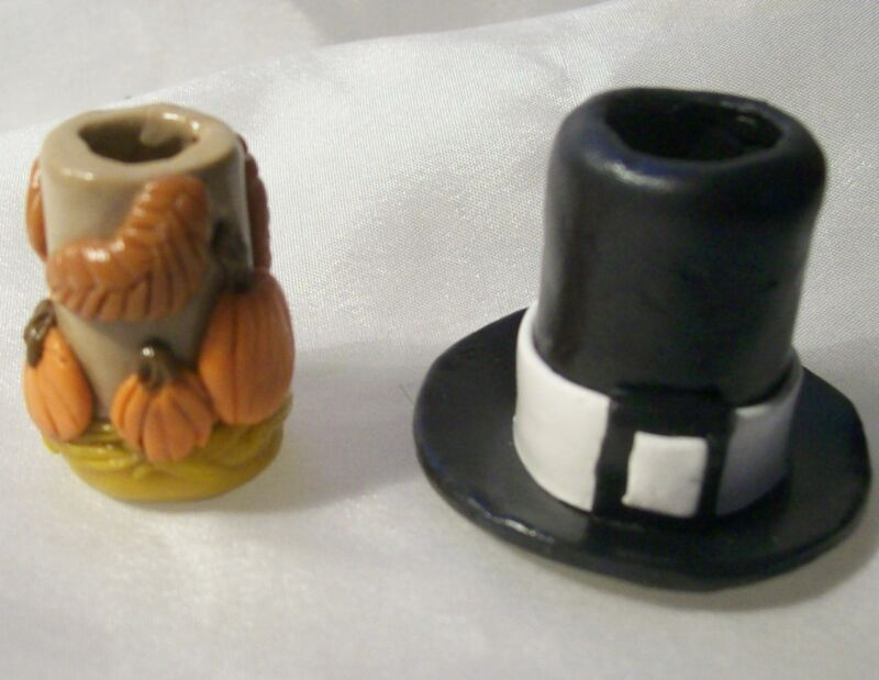 SET OF 2 CIGARETTE SNUFFERS OOAK mini polymer clay Fall Tophat pumpkins ashtray