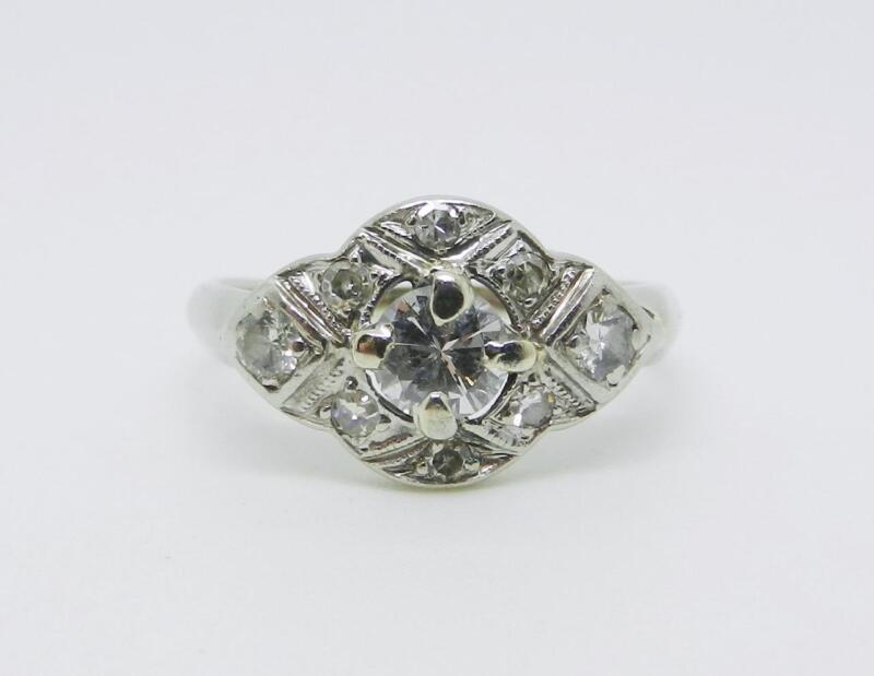 14K WHITE GOLD VINTAGE ART DECO DIAMOND RING SIZE 6.25 -  LB2705