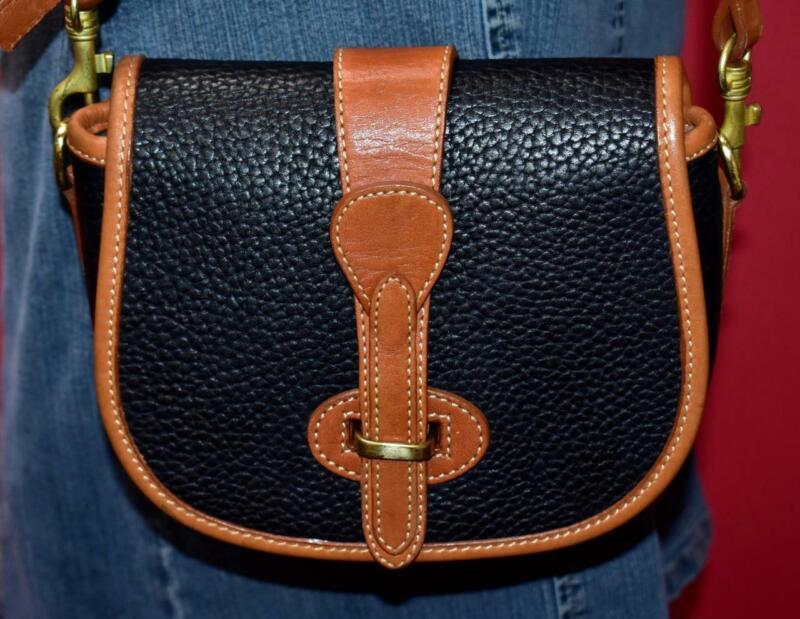 Vtg DOONEY & BOURKE Black EQUESTRIAN OVER & UNDER Leather Cross-body Purse Bag