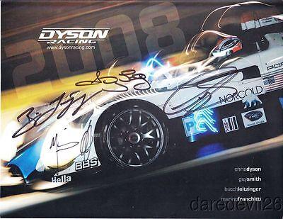 2008 Dyson Racing Porsche RS Spyder LMP2 signed Sebring ALMS postcard 4 Drivers