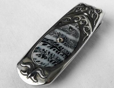 WILLIAM HENRY Knife Geneva Sterling Money Clip Fossil Coral Inlay Florida Keys
