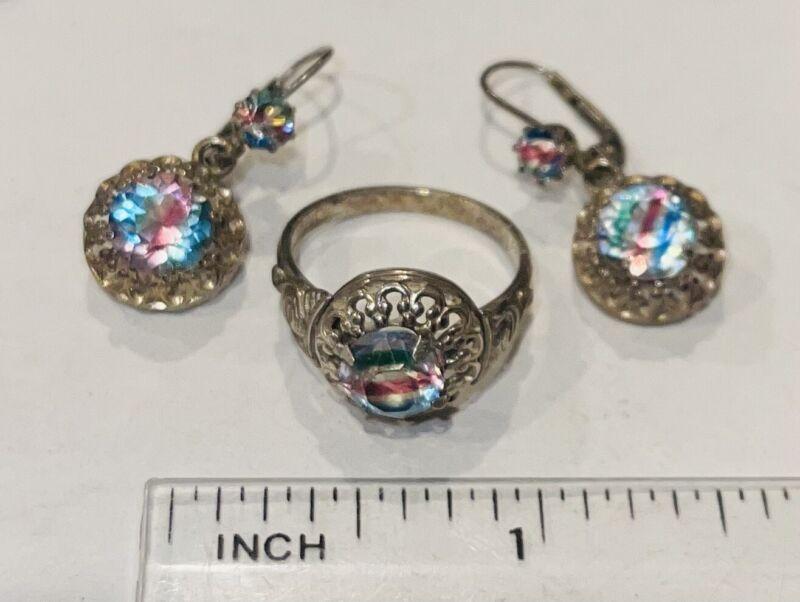 Antique Art Deco Rainbow Iris Sterling Silver Filigree Ring Earrings Set