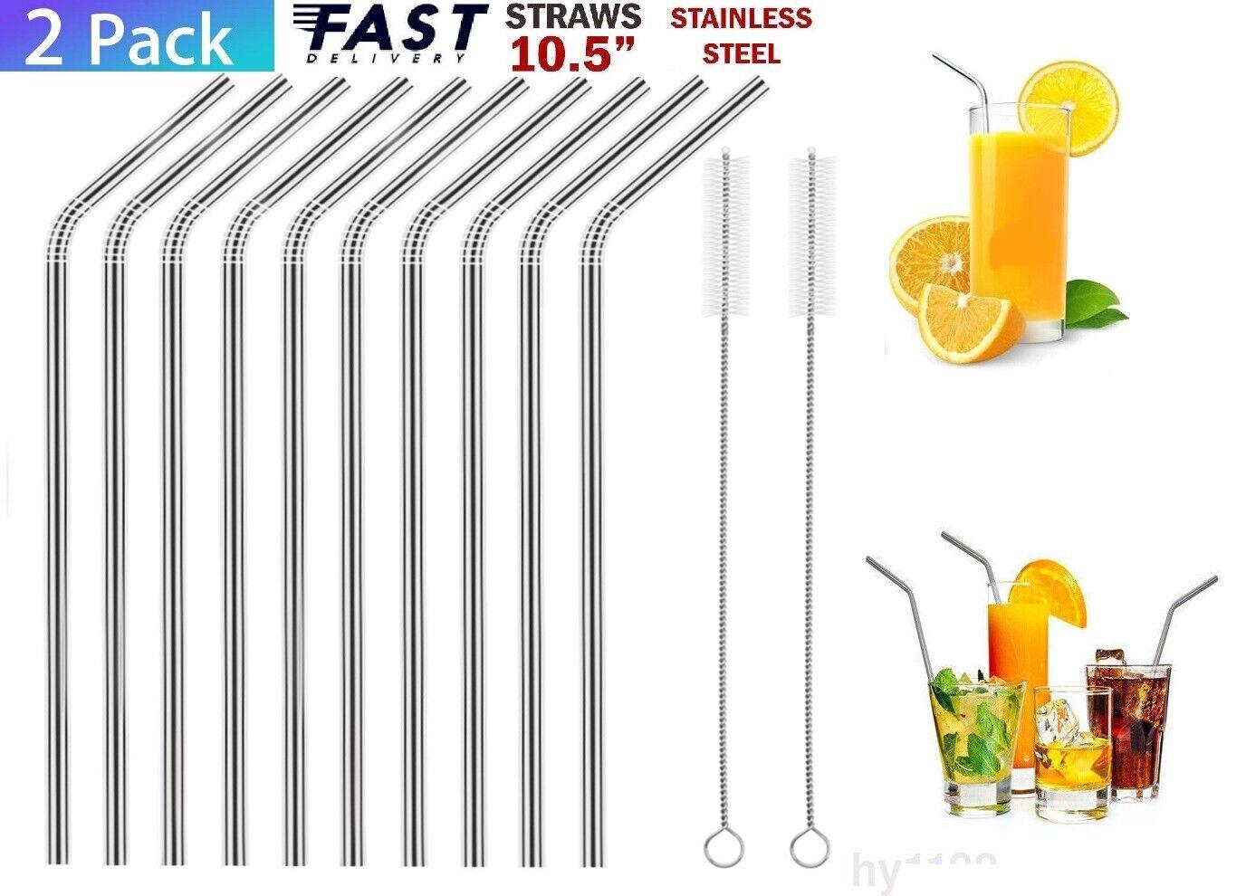 10 Piece Set Metal Steel Drinking Bent 10.5″ Straws Tumblers Smoothies Drinks Home & Garden