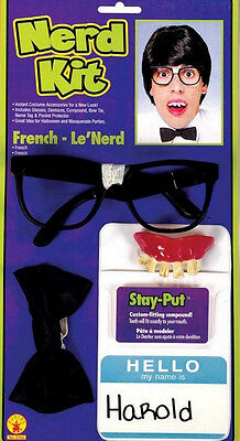 Nerd Costume Kit Geek Glasses Buck Teeth Pocket Protector Bow Tie Dork Mens - Nerd Bow Ties