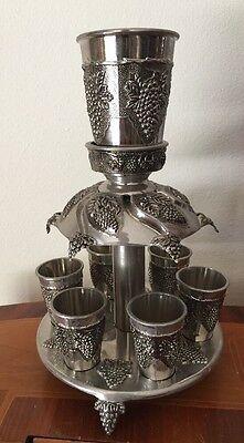 Judaica Shabbat Kiddush  Wine Fountain with 6 Cups Grapes Decoration New