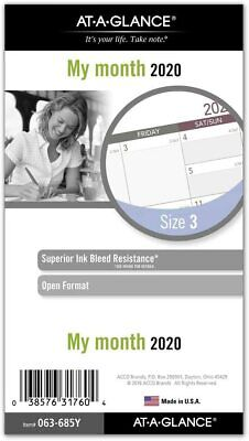 At-a-glance 2020 Monthly Planner Refill Day Runner 3-34 X 6-34 Portable