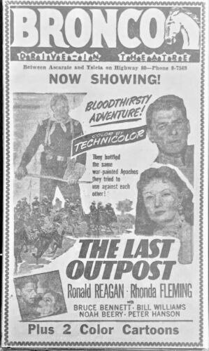 1951 Ronald Reagan & Rhonda Fleming movie ad. - Original