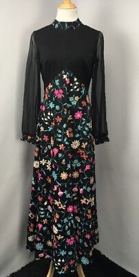 Mod 60s Vintage Black Floral Illusion SEARS FASHIONS Prairie Shift Dress M/L